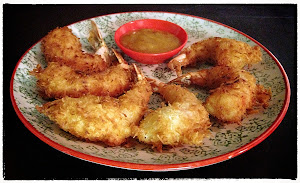 Coconut prawns in beer batter