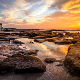 Private Beach Party by Gary Kasl - Landscapes Beaches ( cool, warm, mansion, sunset, tide, beach, la jolla )