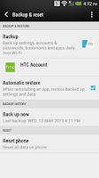 Screenshot of HTC Backup