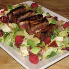 Raspberry-Chili Tuna on Greens