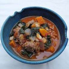 White Bean, Yam & Kale Stew (with Sausage)