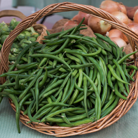 Fresh Green Beans in a Basket by Michael Moriarty - Food & Drink Fruits & Vegetables ( foodie, vendor, vegetables, veggies, photography, msqrd2, farm, farmers, vegan, farmers market, beans, food, tucson, vegetarian, veggie, vegetable, produce )