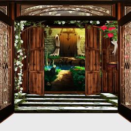 Open door by Svetla Stoimenova - Digital Art Places ( fantasy, open  door )