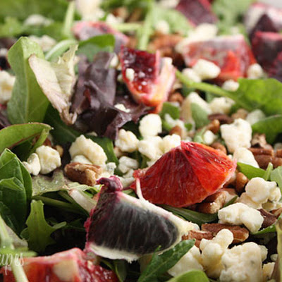 Blood Orange Salad with Gorgonzola, Pecans and Baby Greens