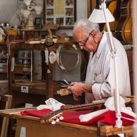 Spanish Luthier by Steve McCaffrey - People Street & Candids ( luthier, work, spanish, guitar, working, granada, man, spain )