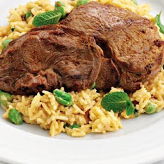 Spicy Lamb Steaks With Coconut And Broad Bean Rice