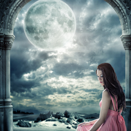 Dialogue by Wen Exe - Digital Art Things ( moon, sky, girl, dark, crow, night )