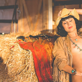 The Nude Westerns by Kelli Tinker - Nudes & Boudoir Artistic Nude ( cowboy hat, model, nude, all star nudes #3, gorgeous, the young westerns, indian blanket, floofie, accessories, suede jacket, hat,  )