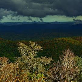 Storm Over the Blue Ridge by Jonathan Wheeler - Landscapes Weather ( fall colors, blue ridge parkway, storm light, evening light, appalachian mountains )