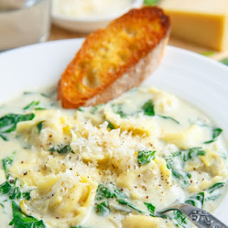 Spinach and Artichoke Dip Tortellini Soup