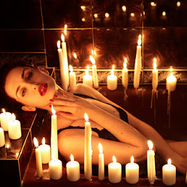 1000 Candels by Karmen Poznić - People Portraits of Women ( red, candles, tub, beauty, sensual )