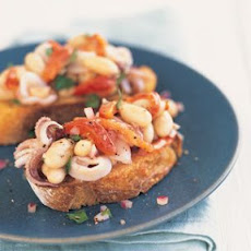 Quick-Sautéed Calamari with White Beans and Roasted Peppers