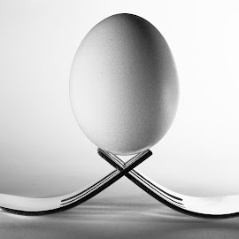 Egg on Forks by Quintin Erasmus - Food & Drink Cooking & Baking ( forks, black and white, kitchen, baking, health, egg,  )