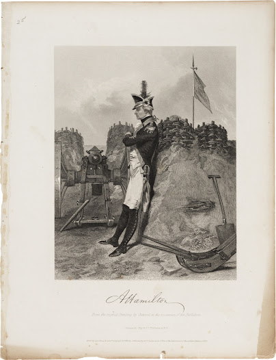 "This engraving recalls one Revolutionary War veteran's memory of Hamilton.  ""I saw a youth, a mere stripling, small, slender ... with a cocked hat pulled down over his eyes, apparently lost in thought."""