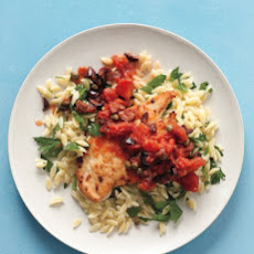 Chicken Puttanesca with Orzo