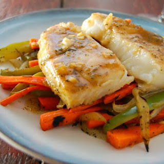 Grilled Sea bass in Lime-Garlic Sauce with Lemon Veggie Base