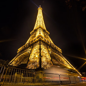 Eiffel by Cosmin Stahie - Buildings & Architecture Public & Historical ( paris, tower, lower, side, foot, la, eiffel, night, yellow, tour )
