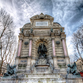 St Michel - Paris by Ben Hodges - Buildings & Architecture Statues & Monuments ( paris, europe, hdr, cloud, france, travel, st michel )