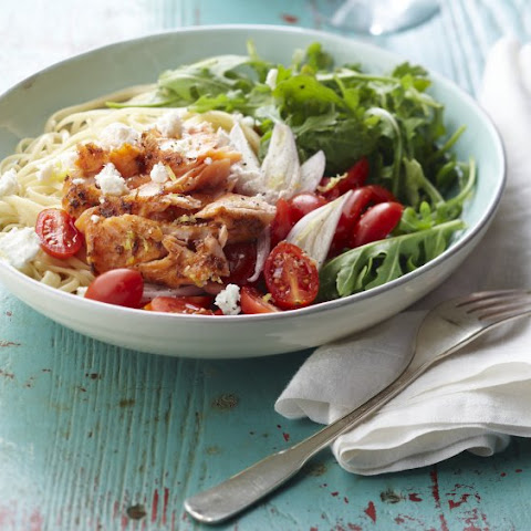 Warm Salmon and Arugula Pasta Salad