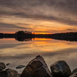 by Michael Last - Landscapes Sunsets & Sunrises ( water, clouds, stoneham, sky, waterscape, sunset, spot pond, landscape, rocks )