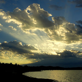 Sunburst Over Folsom Lake by Brian Blood - Landscapes Cloud Formations ( water, nature, lakes, sunrise, landscape,  )