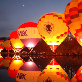 Mirror Lake Balloon Glow by Martin Wheeler - Transportation Other ( mirror, hotair, balloonglow, hotairballoon, mirrorlake, edenpark,  )