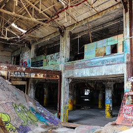 Ceiling made into Skate Ramp by Ashley McCuen - Buildings & Architecture Decaying & Abandoned ( skate park, building, colorful, beauty, architecture, detroit michigan fisher building, forgotten, decay, abandoned )