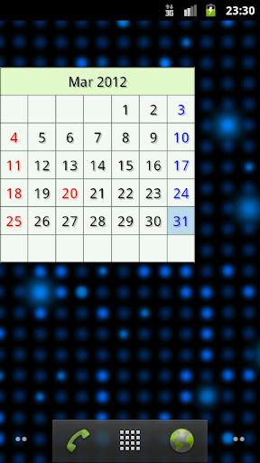 簡易カレンダー