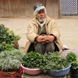 vegetables seller by Neža Kompare - City,  Street & Park  Historic Districts ( selling, vegetables, fez )