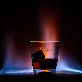Whiskey Flames by Stefan Roberts - Artistic Objects Cups, Plates & Utensils ( flames, whiskey, crown royal, glass, fire )