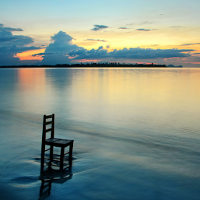 AWAITING by Sim Sherina - Landscapes Sunsets & Sunrises ( , Chair, Chairs, Sitting )