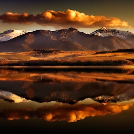Long day by Ondrej Pakan - Landscapes Sunsets & Sunrises ( mirror, mountain, snow, lake, landscape )