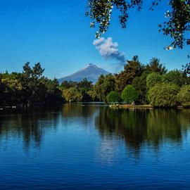 Lagoon at Puebla City by Cristobal Garciaferro Rubio - Landscapes Travel ( reflection, laguna de san baltazar, mexico, puebla, popocatepetl )