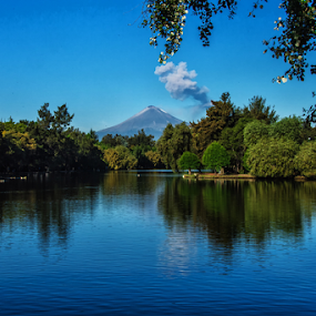 Lagoon at Puebla City by Cristobal Garciaferro Rubio - Landscapes Travel ( reflection, laguna de san baltazar, mexico, puebla, popocatepetl )