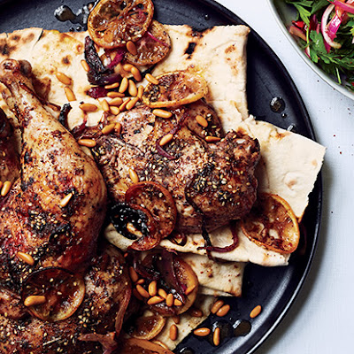 Za'atar Roast Chicken with Green Tahini Sauce