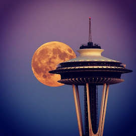 Rise of the supermoon by Rachna Niranjan - Instagram & Mobile Android ( natgeocreative, nature, seattle, natgeo, supermoon, spaceneedle )