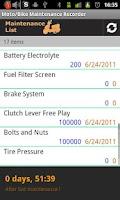 Screenshot of Moto/Bike Maintenance Record