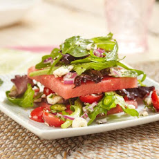 Layered Watermelon, Tomato and Mixed Greens Salad with Feta Cheese