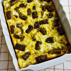 Sausage, Mushrooms, and Feta Baked with Eggs