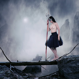 The cold warrior by Caras Ionut - Digital Art People ( girl, mountain, nude, wood, cold, blue, ice, beautiful )