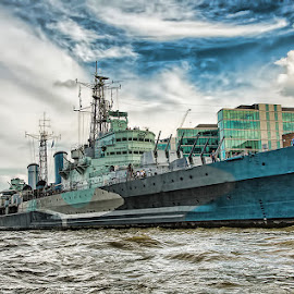 HMS Belfast - River Thames by Linda Casey - Transportation Boats ( london, thames, ship, tower bridge, dramatic, hms belfast, ships, river )
