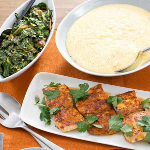 Blackened Cajun Fish with Collard Greens & Cheddar Grits