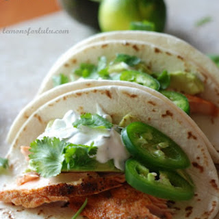 Salmon Tacos with Jalapeno Cream