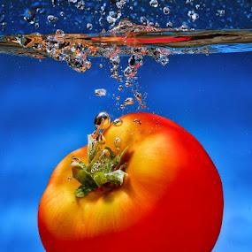 Tomatto by Irwan Kairuman - Food & Drink Ingredients ( water, fruit, macro, splash, closeup )