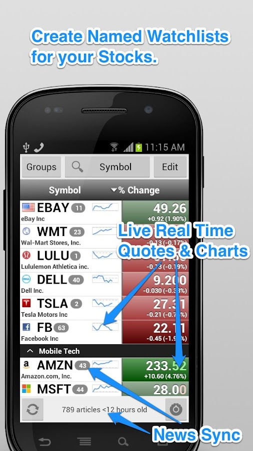 Stocks: Realtime Quotes Charts Screenshot 0