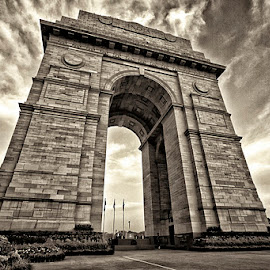 India Gate by Rafael Uy - Buildings & Architecture Statues & Monuments ( black and white, new delhi, india, monument, india gate )