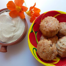 Parmesan and Walnut Scones with Harissa Sauce