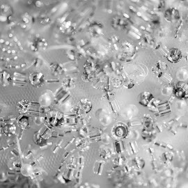 Beading by Valerie Yelk - Wedding Details ( beading, details, macro photography, black and white, wedding dress, wedding details )