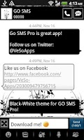 Screenshot of GO SMS Pro Black-White theme