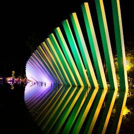 The Rainbow Statue Garden Surabaya by Ade Irgha - Buildings & Architecture Statues & Monuments ( statue, lighting, night photography, colorful, garden )